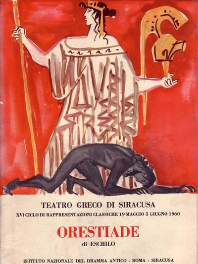 INDA 1960. Immagine di copertina raffigurante Oreste supplice e la dea Atena